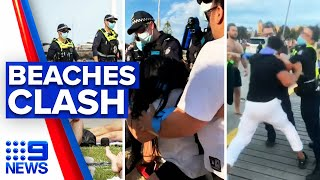Coronavirus: Violence erupts on Melbourne beaches | 9 News Australia