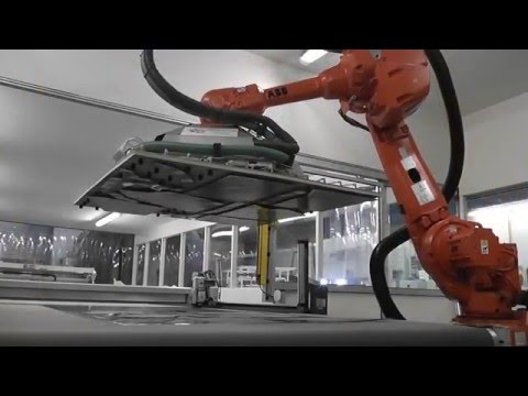 Composites cutting  and robotic unload Bullmer and Cytec/Solvay cooperation