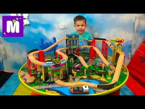 Thumbnail: Стол трек ж/д дороги играем машинками распаковка игрушки Kidcraft City Explorer with play table