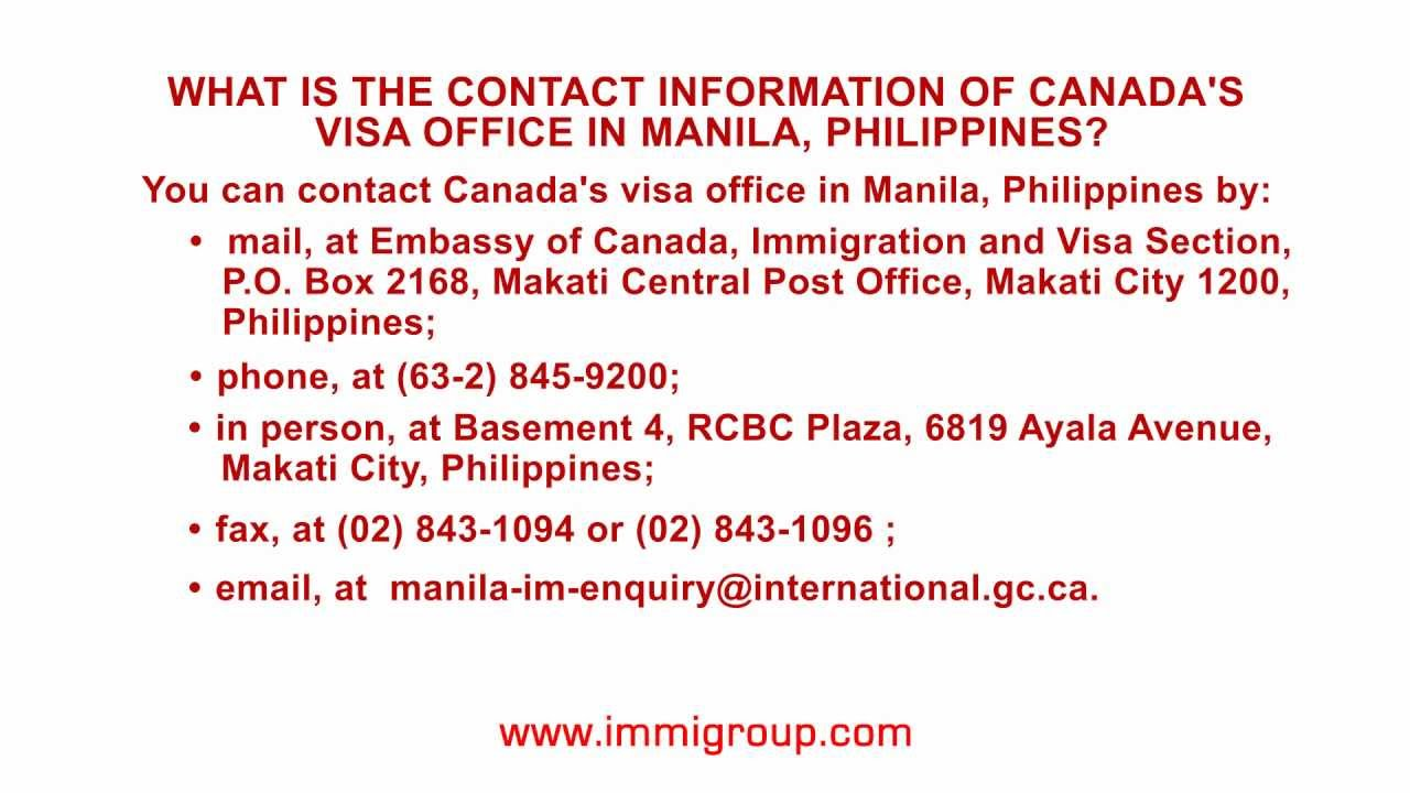 What is the contact information of Canada's visa office in Manila,  Philippines?