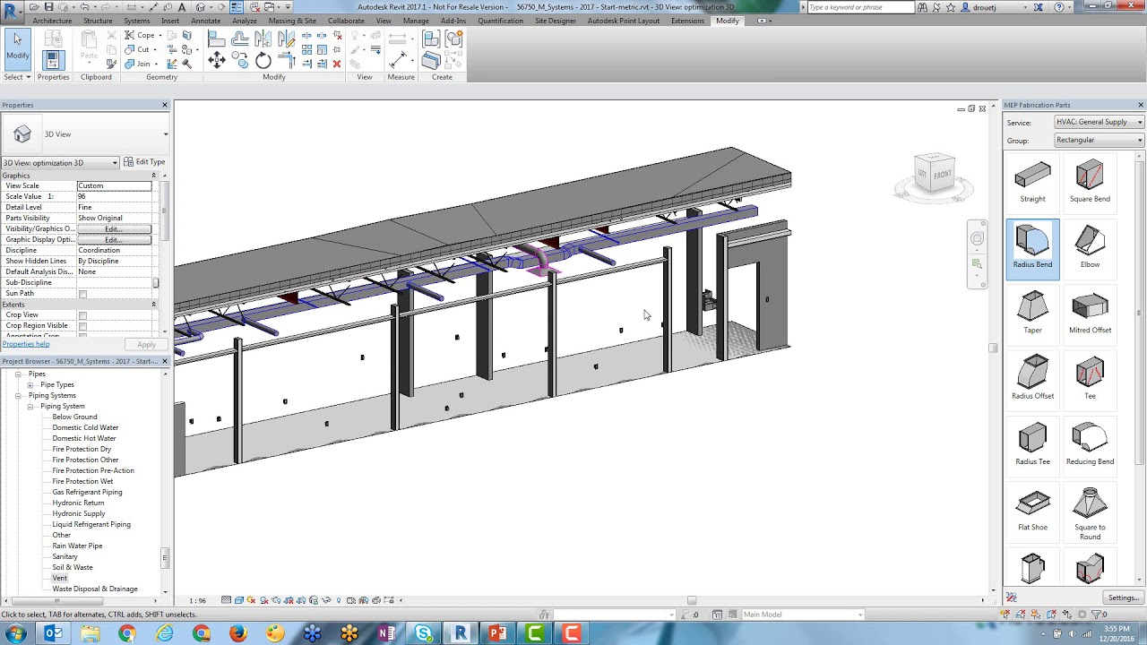 Convert Duct Systems to Fabrication Parts in Revit