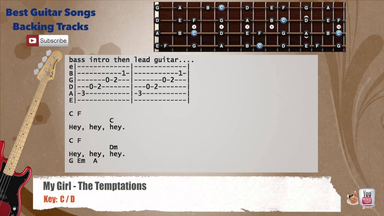 My Girl The Temptations Bass Backing Track With Scale Chords And