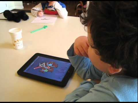 Leo Playing Dot-to-Dot Number Whiz on his iPad