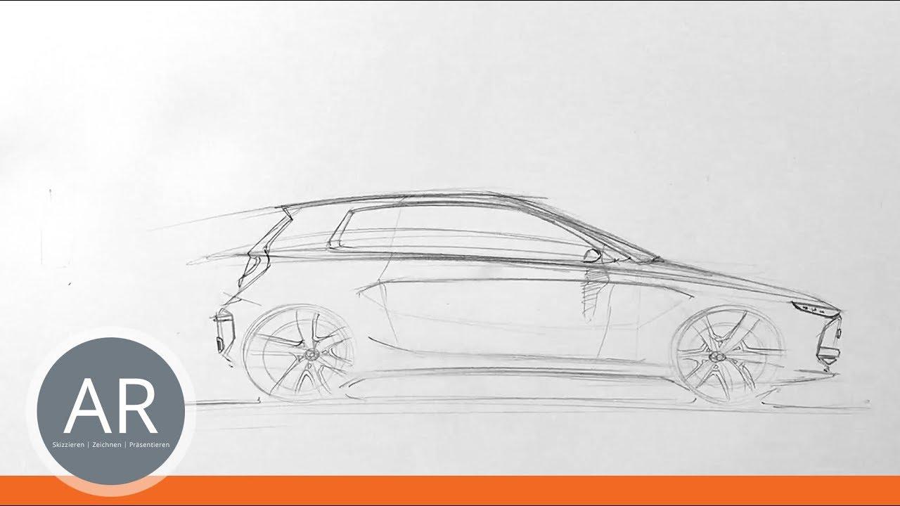 Teil 1, Kompaktklasse-Auto-Studie. Auto-Skizzen. Mappenkurs ...