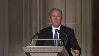 Son's tribute to a father. George W. Bush delivers an eulogy to George H. W. Bush