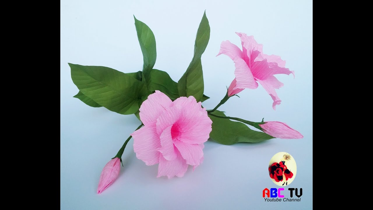 How To Make Mandevilla Double Flowers From Crepe Paper Craft