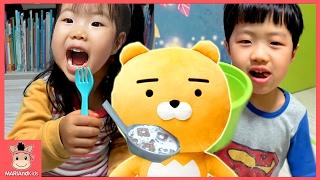 라이언 인형 타요 버스 과자 어린이 먹방 ♡ 카카오 인형놀이 요리카트 장난감 놀이 Kakao Lion Cookies Kids Mukbang | 말이야와아이들 MariAndKids