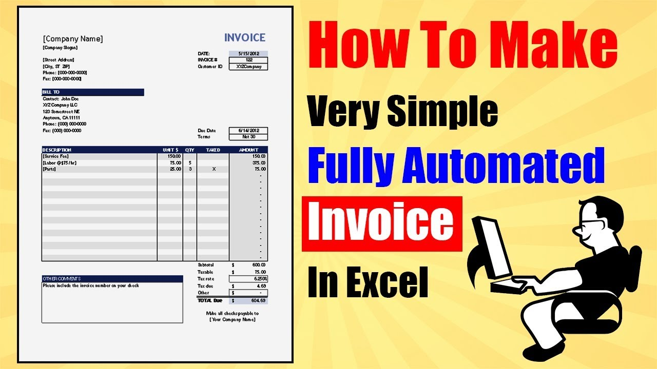 how to create automated invoice in excel ||
