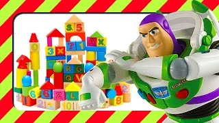 Buzz Lightyear Toy Story Stop Motion Kids Building A Castle With Wooden Blocks Learning Timber Wood