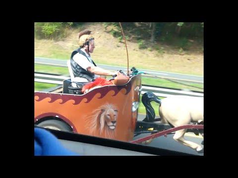 Custom Chariot Car Drives on Freeway