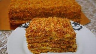 Медовик БЕЗ РАСКАТКИ КОРЖЕЙ и БЕЗ МАСЛА быстрый и простой рецепт торта