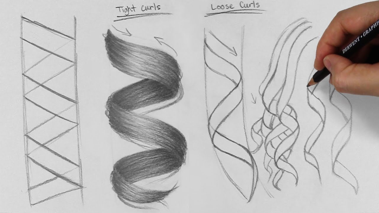 How to Draw Long Curly Hair - YouTube