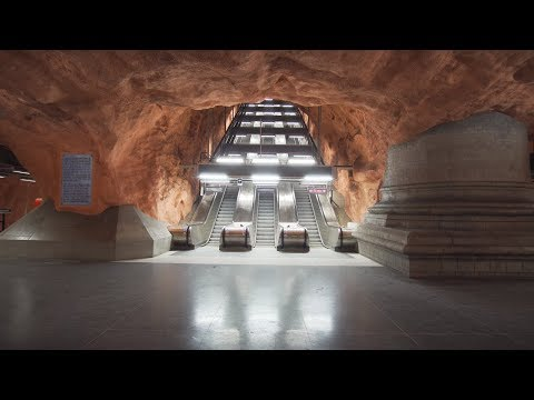 Sweden, Stockholm, Rådhuset, subway ride to Central Station, 3X escalator, 1X elevator
