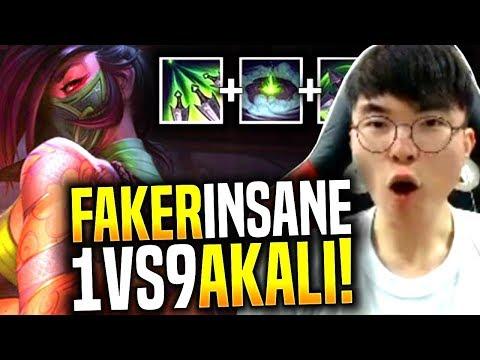 Faker Insane 1v9 with New Akali! - SKT T1 Faker Picks Akali Mid! | SKT T1 Replays