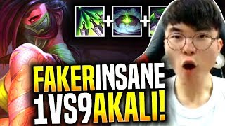 Faker Insane 1v9 with New Akali! - SKT T1 Faker Picks Akali Mid! | SKT T1 Replays