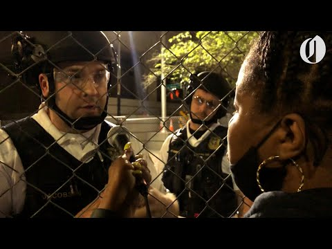 Portland police officer and demonstrator ask each other to be accountable for peaceful protests