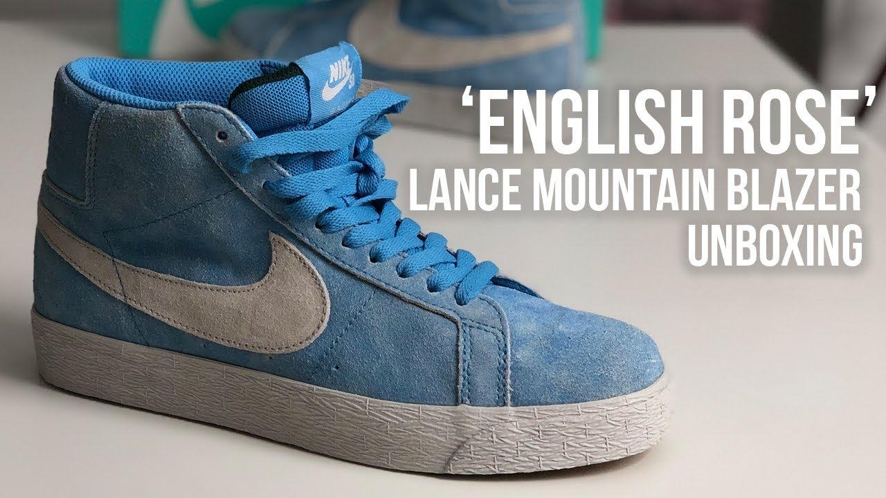 7b506ae3ca40d Nike SB x Lance Mountain Blazer Mid 'English Rose' Sneaker Unboxing ...