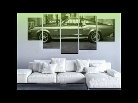 5 Piece Ford Mustang GT500 Eleanor Canvas Wall Art Paintings