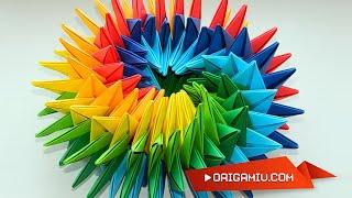 Super origami star - bright rotating star out of paper (Origami Swirl Star Torus by Yuri Shumakov)