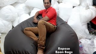 filling one of the biggest bean bag in India. Shop Online at www.myrepose.in