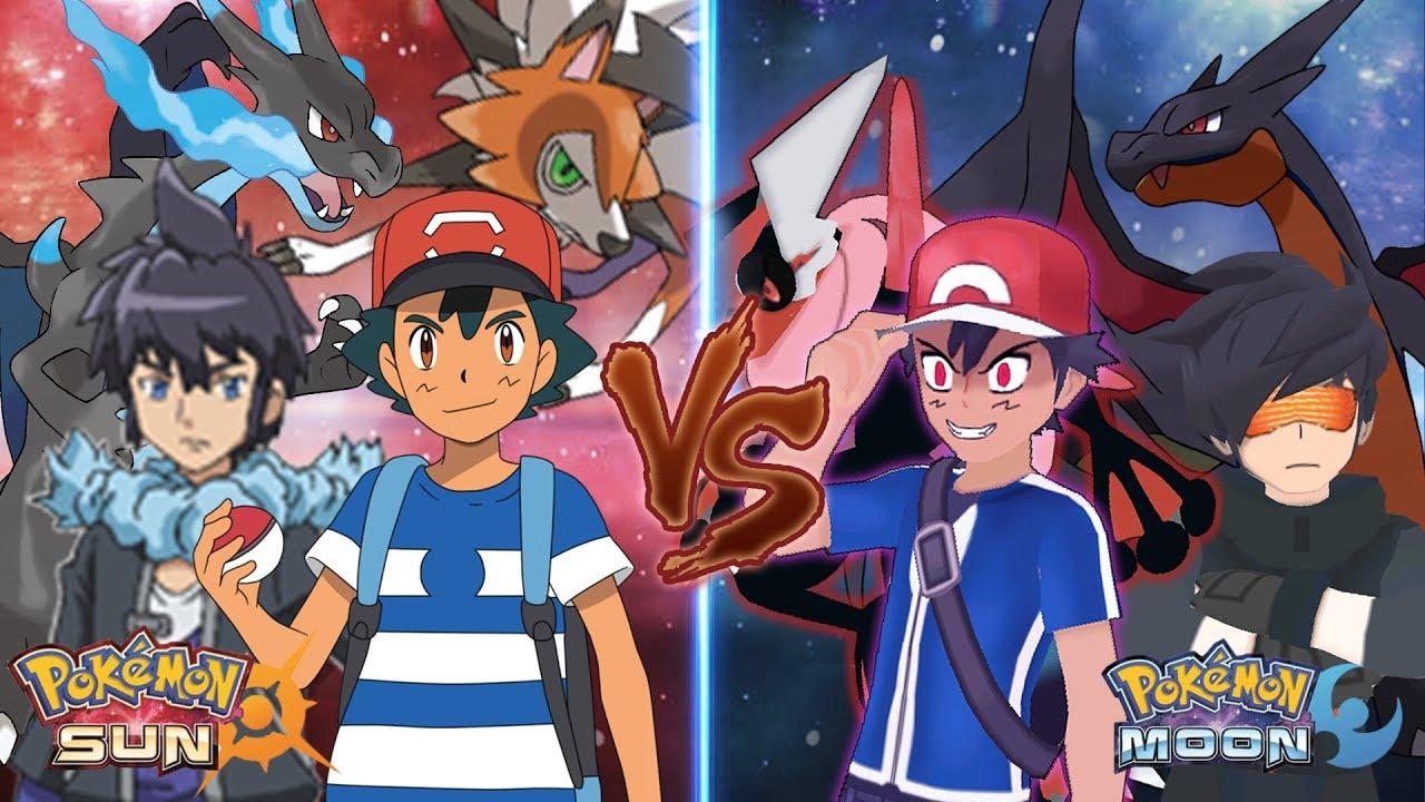 Pokemon Sun and Moon: Alola Ash and Alain Vs Dark Ash and ...