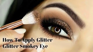 Beginners Eye Makeup Tutorial  | How To Apply Glittery Smokey Eyeshadow