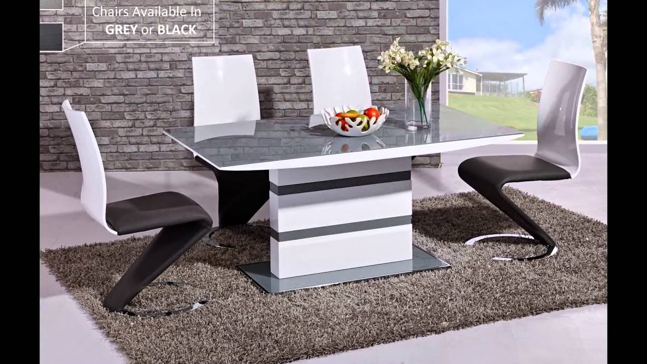 Grey high gloss dining table and chairs sets