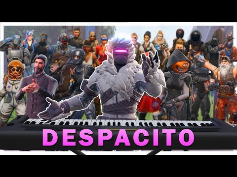 "24 players play ""Despacito"" on Fortnite piano thumbnail"