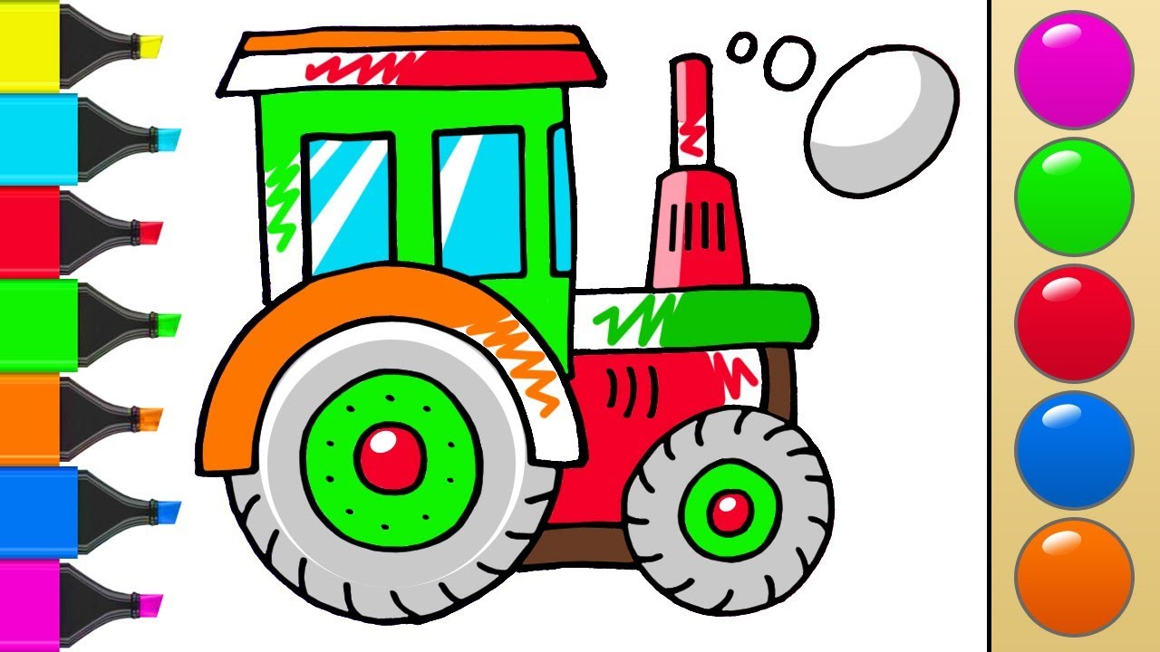How to draw a Tractor. Coloring Pages for kids. How to paint a ...
