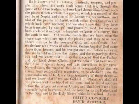 Testimony of Three Witnesses - Book Of Mormon