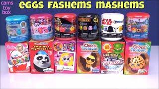 Chocolate Surprise Eggs Fashems Mashems Toys Paw Patrol Shopkins PacMan MLP Barbie Kinder