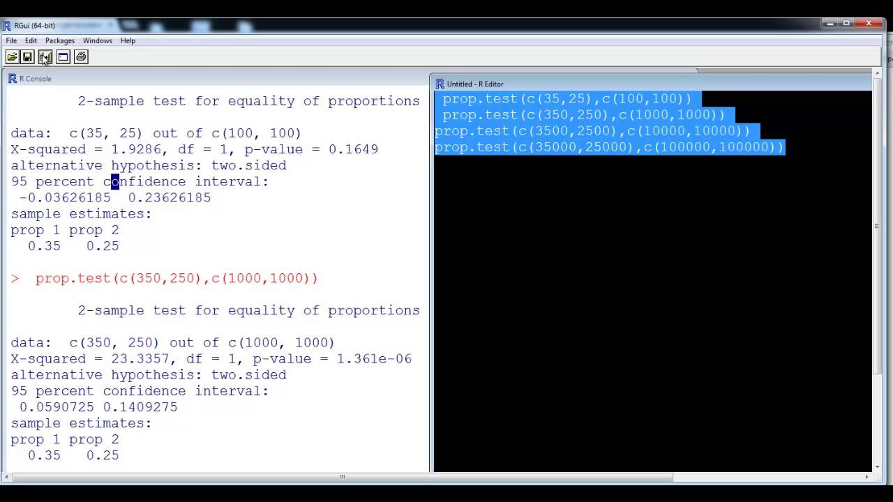 Prop Test Impact of Sample Size with R - YouTube