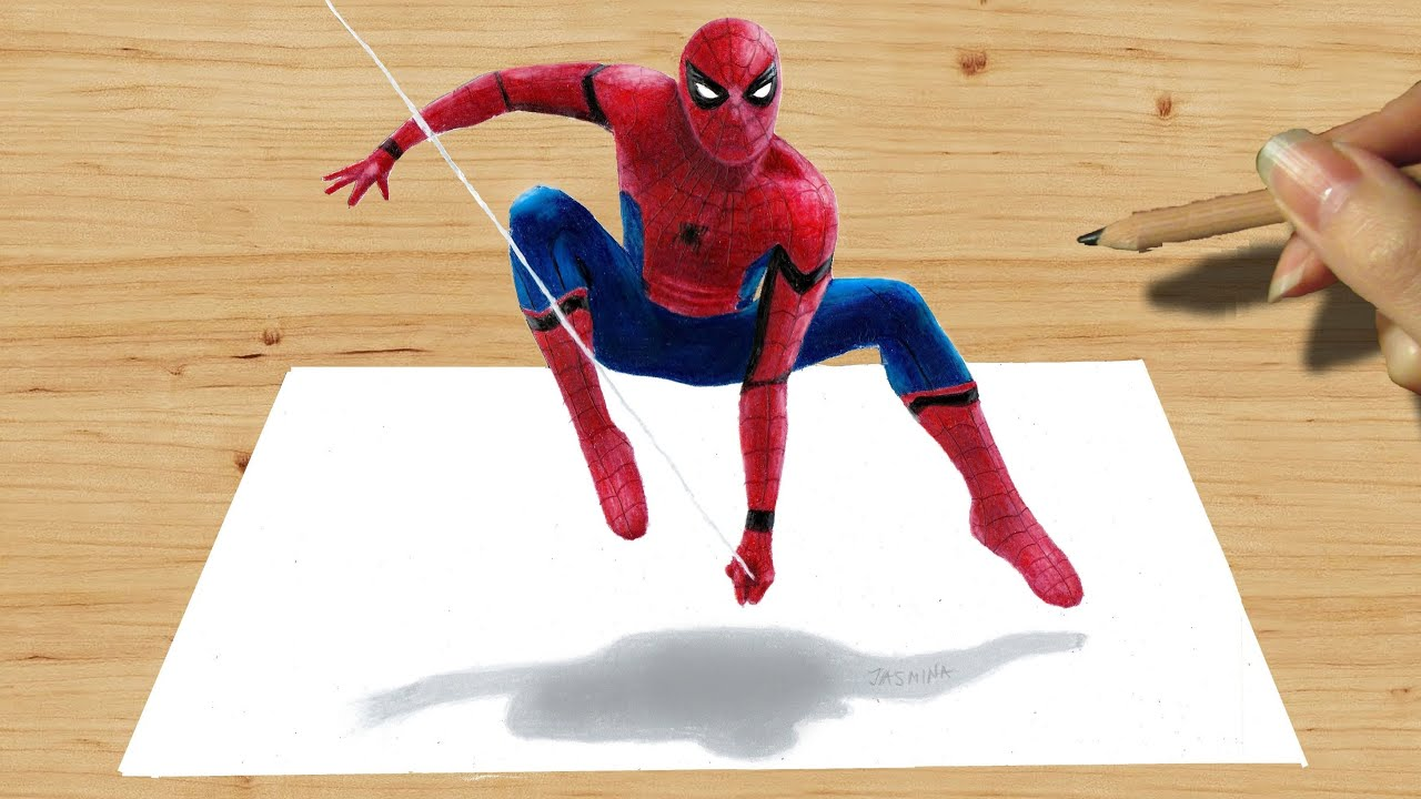 3D Pencil Drawing SpiderMan NEW COSTUME in Captain America