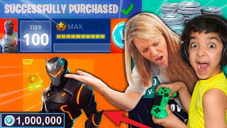 5 YEAR OLD LITTLE BROTHER SPENDS $500 ON FORTNITE WITH MOMS CREDIT CARD TO MAX OUT HIS BATTLE PASS!