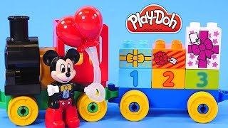 play doh birthday cupcake eggs surprise for mickey mouse clubhouse minnie lego toy train parade