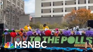 'Joy To The Polls' Brightens Dreary Voting Lines With Music, Dance | Rachel Maddow | MSNBC