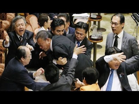 Japanese Politicians Get Into Brawl Over Pacifism [VIDEO]