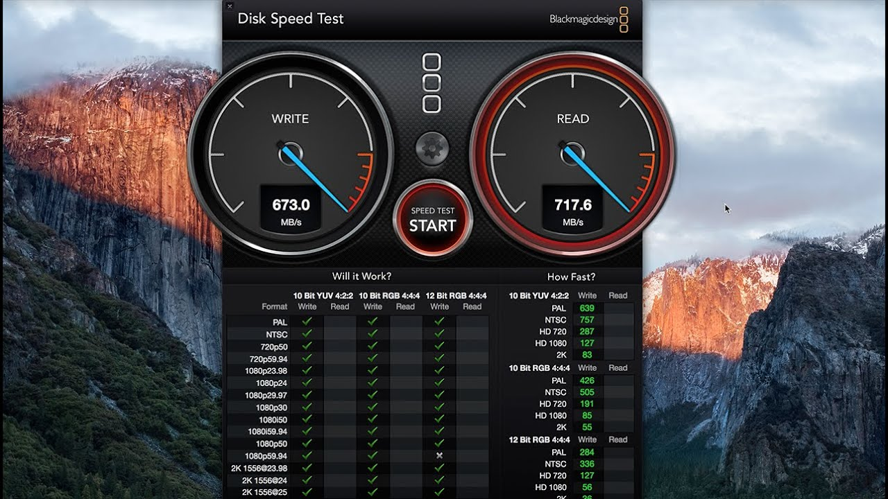 Macbook Pro 2015 Read Write Disk Speed Test using Blackmagic tool for Mac