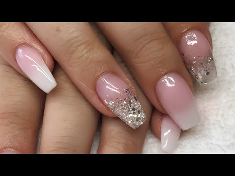 Acrylic Nails | Pink And White Ombre | Silver Glitter