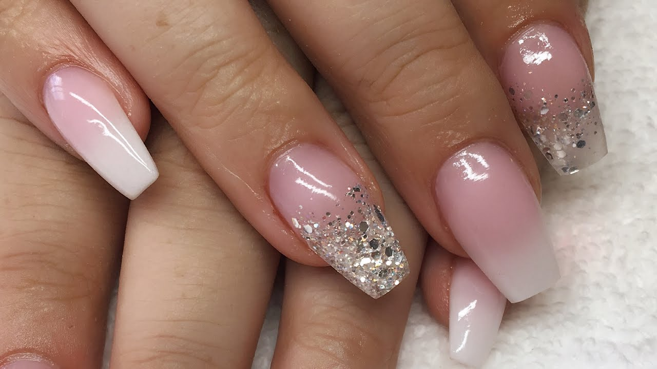 Acrylic Nails Pink And White Ombre Silver Glitter