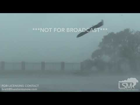 10-10-18 Tyndall AFB, FL - Hurricane Michael peak eyewall winds and debris.mp4