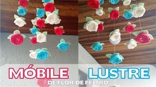 Móbile / Lustre com Flores de Feltro