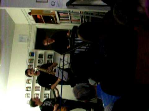 Helsinki jazz band in second-hand books store