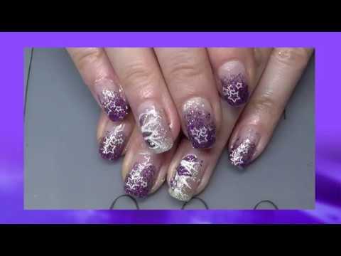 Lila Glitzer Nageldesign Mit Sternen Stamping Youtube