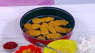 غادة التلي تحضر اصابع الدجاج بتغليفة الشيبس