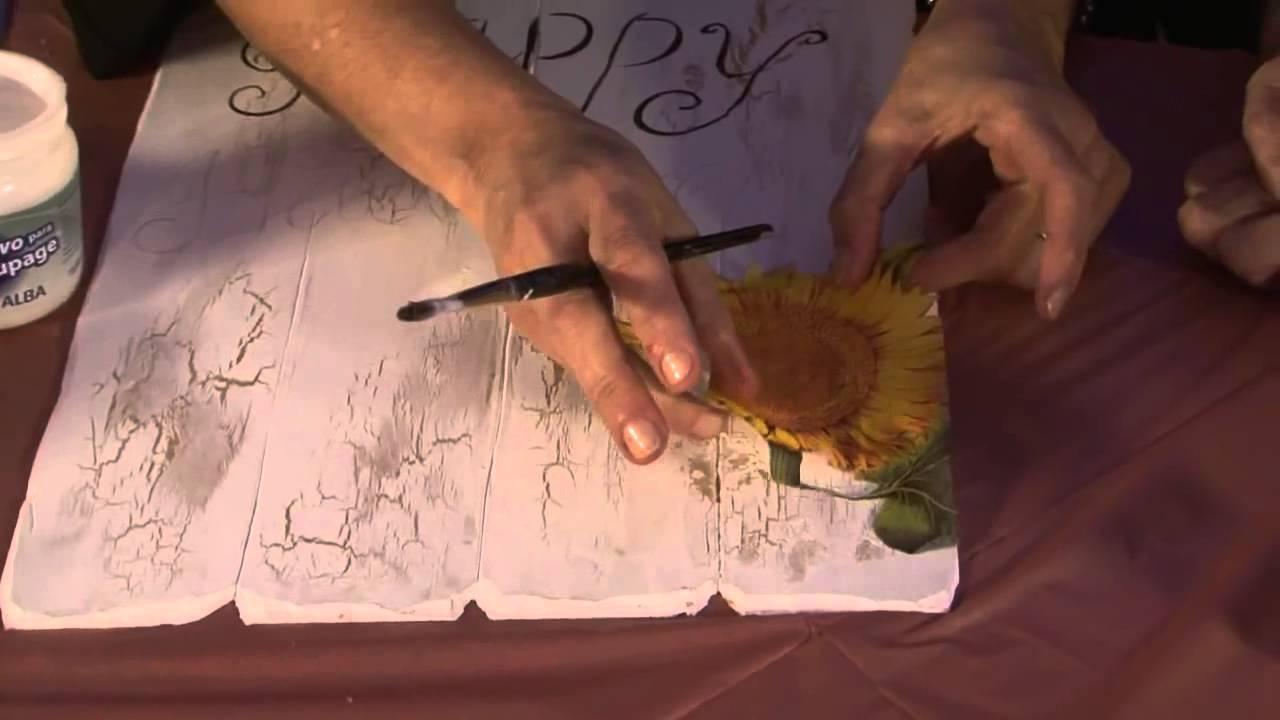 Como decorar una cartel simil madera - Alba Artística - YouTube