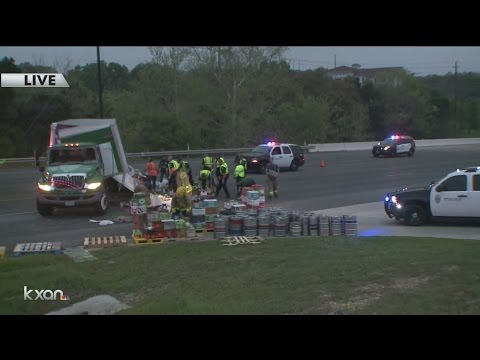 Ben E. Keith Co. beer truck crashes, crews work to clear the large spill