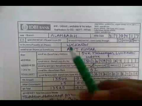 how to fill dd form of idbi bank