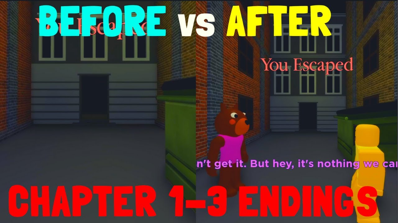 BEFORE vs AFTER CHAPTER 1-3 ENDINGS ROBLOX PIGGY 로블록스 피기 챕터 1-3 전후 엔딩 비교