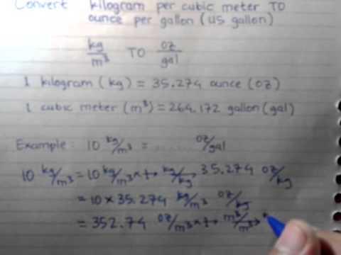 Convert Kilogram Per Cubic Meter To Ounce Per Gallon
